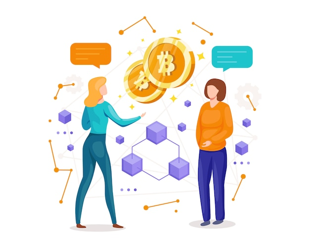 Illustration making investments for bitcoin and blockchain