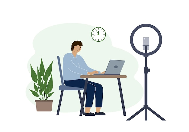 Illustration of a male blogger at the table with a laptop. online filming of a training course or blog