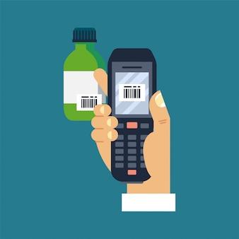 図男性のモバイルバーコードスキャナーまたはリーダーを持っている手が薬の瓶のバーコードをスキャンします。