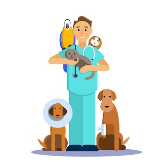 Illustration of male veterinarian with cute pet, dog, cat, guinea pig and parrot.