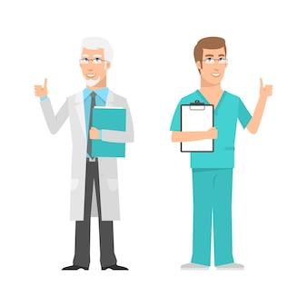 Иллюстрация, мужской ученый и врач показывает палец вверх, формат eps 10
