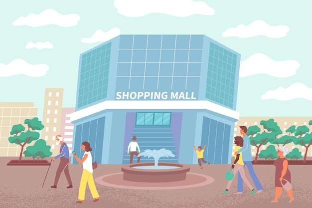 Illustration of mall building and citizens going to make purchases in city shopping center