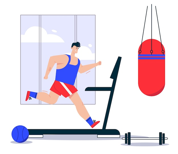 Illustration of man athlete in sports uniform jogging on treadmill. punching bag hanging, barbell lying in gym. healthy lifestyle, cardio exercises