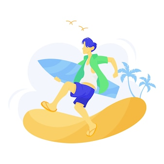 Illustration of man carrying a surf board