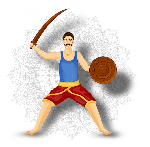 Illustration of man character holding sword with shield on mandala pattern background.