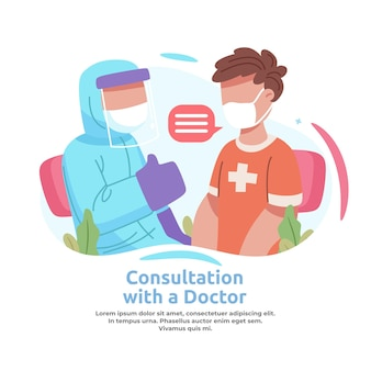Illustration of a man consulting a doctor about vaccines