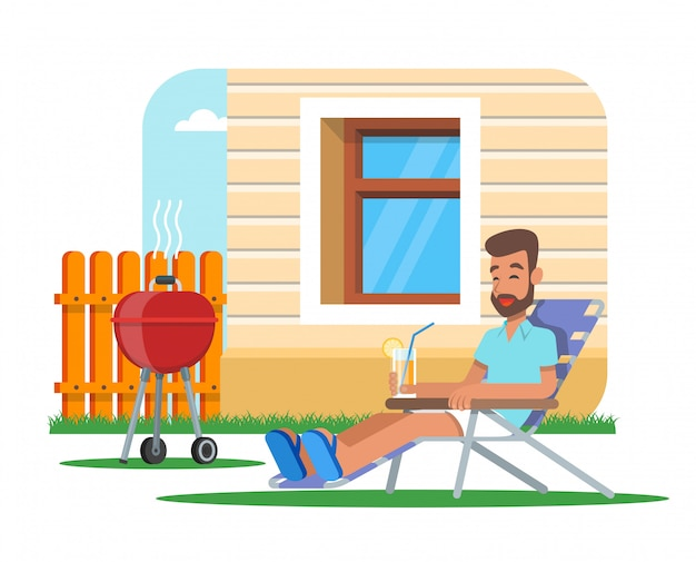 Illustration of man cooking barbecue and having rest.