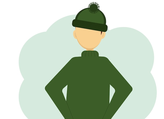 Illustration of a man in a dark green knitted sweater and knitted hat