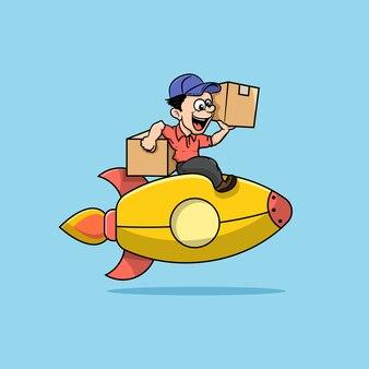 Illustration of a man delivering a package on a rocket