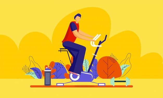 Illustration of man doing exercise on cycling machine
