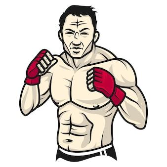 Иллюстрация, мужчина-боец стоит в стойке и в перчатке, формат eps 10