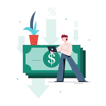 Illustration of a man getting a personal loan. concept of lending. person borrow money from bank.