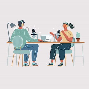 Illustration of man interviewing a woman in a radio studio. making podcast process. air, live blog concept on white background.