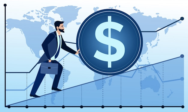 Illustration of man is going to succeed on world map and graph background. businessman is trying to push up a coin. business concept illustration in flat cartoon style.