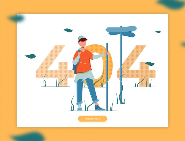 Illustration of man loses the direction for a 404 error page