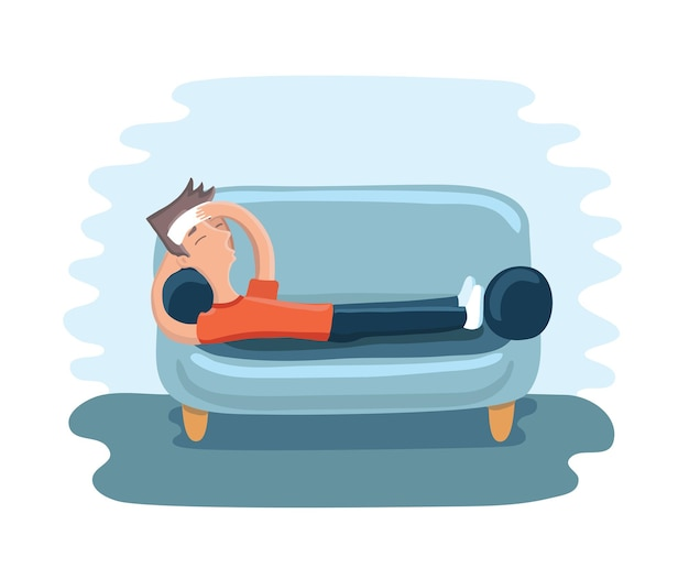 Illustration of man lying with a compress on the foreheadon on sofa and suffering with headache