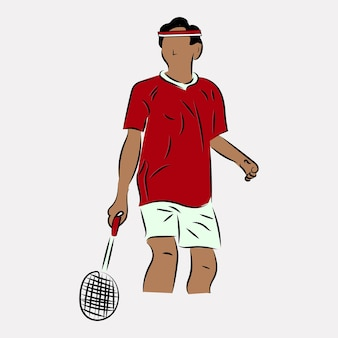 Illustration of a man playing badminton wearing a red costume