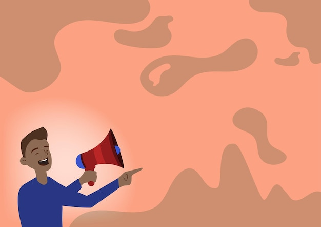 Illustration of a man pointing away holding megaphone making new announcement. gentleman drawing spotting to other side using bullhorn presenting loudly recent advertisement.