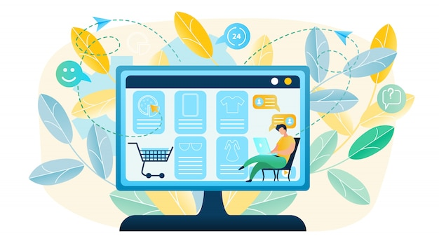 Illustration man produces shopping online