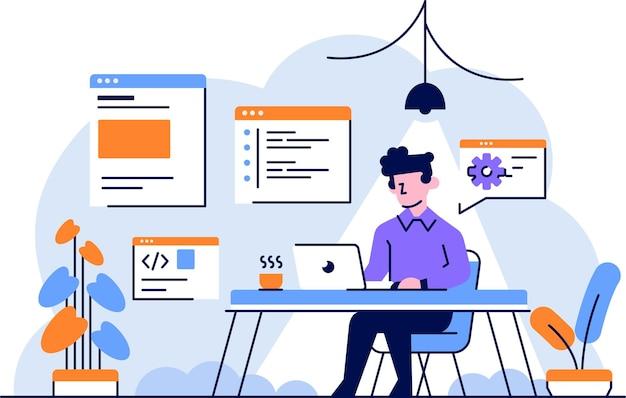 イラストマンプログラマー開発者作業コーディングセットアプリケーションモバイルフラットアウトラインデザインスタイル