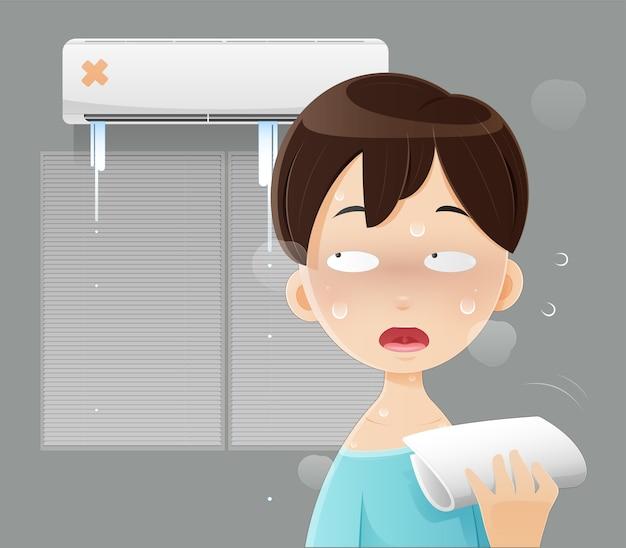 自宅のエアコンが壊れたために眠れないイラスト男、熱中症、寝室で熱に苦しんでいる青いシャツを着た男性。