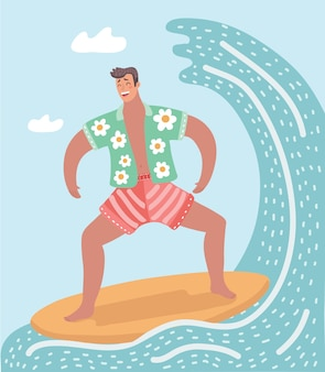 A  illustration of man surfing on the ocean