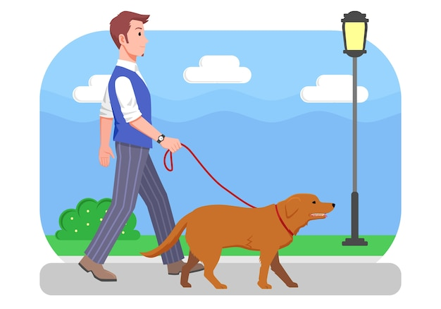 Illustration man walking with his dog