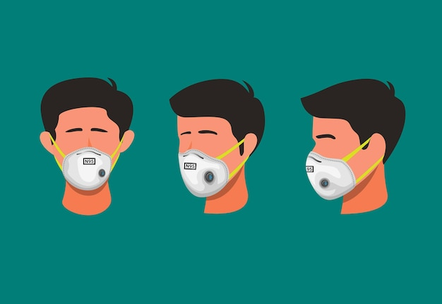 Illustration of man wear respirator face mask protection from virus or dust pollution symbol concept in cartoon illustration