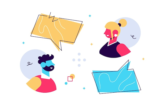 Illustration of man and woman chatting with speech bubbles