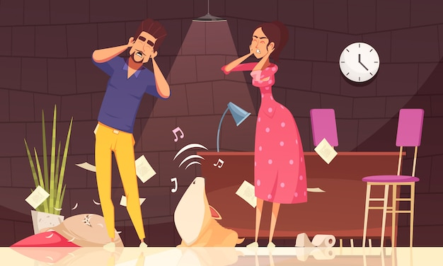 Illustration of man and woman closing ears and loud howl of puppy at home