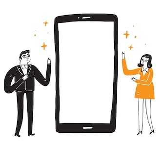 Illustration of man and woman to guide the screen of the smartphone
