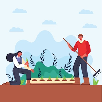 Illustration of man and woman organic farming concept