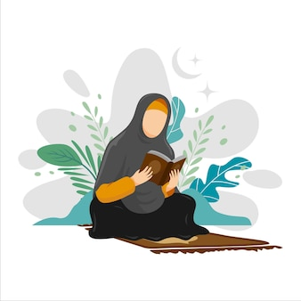 Illustration of man and woman studying and reading the holy quran in their daily activity