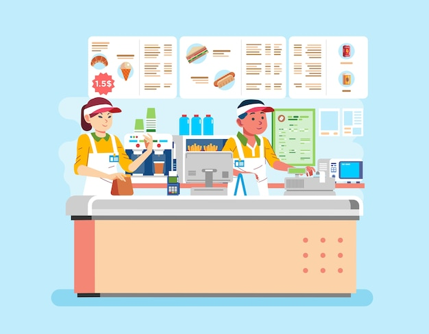 Illustration of man and women cashier wearing uniform at fast food restaurant is serving customers. used for banner, poster and other