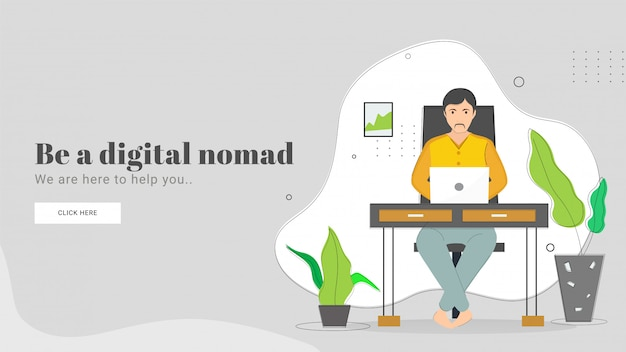 Illustration of man working in laptop on workplace for be a digital nomad concept based landing page design.