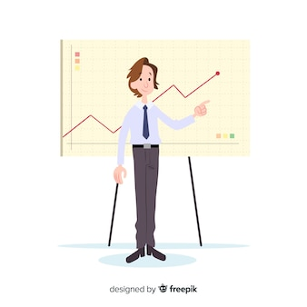 Illustration of man working in office