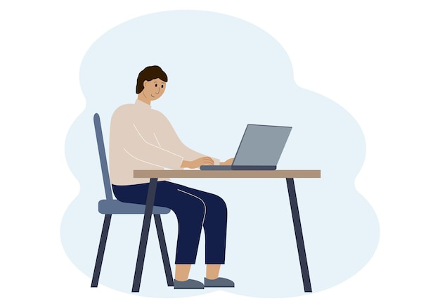 Illustration of a man in a workspace with a laptop. online work or education concept