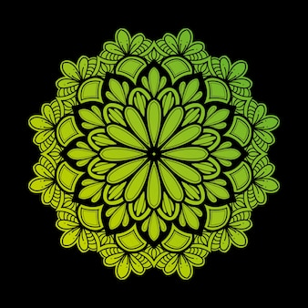 Illustration of mandala art decor design. with a gradient of light green and dark very natural.