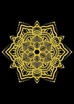 Illustration of mandala design with gold lines