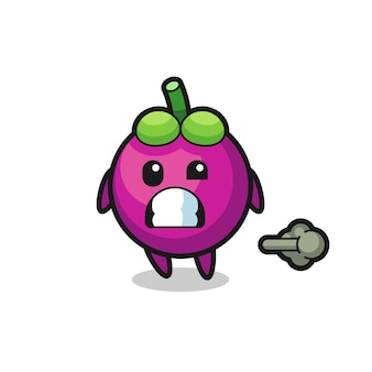 The illustration of the mangosteen cartoon doing fart , cute style design for t shirt, sticker, logo element