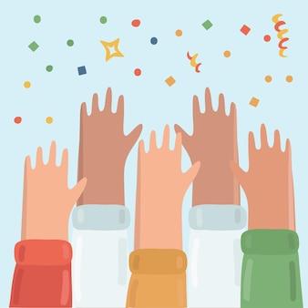 Illustration of many hands raised up