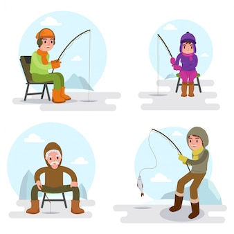 Illustration of many people fishing on the lake in winter season isolated