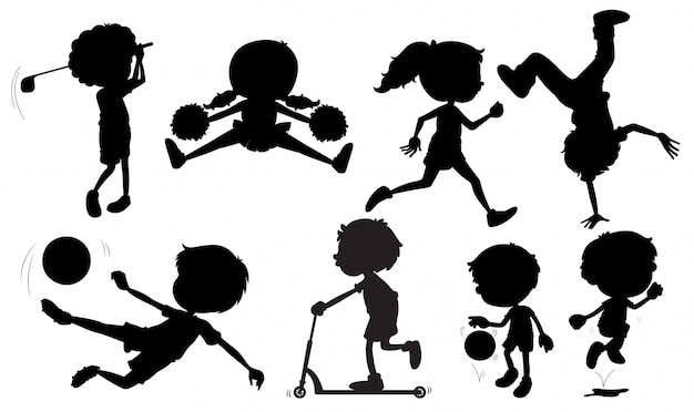 Illustration of many silhouette sports
