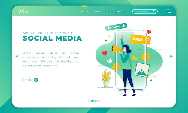 Illustration of marketing strategy with social media on landing page template