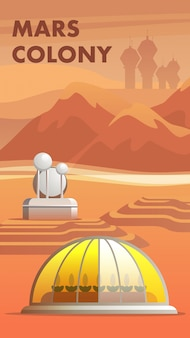 Illustration mars colony first settlers astronaut