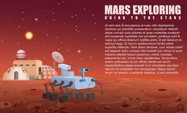 Illustration of mars robot rover and colony in opened space.