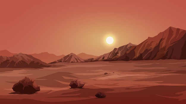 Illustration of mars surface landscape