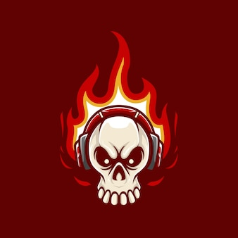 Illustration mascot logo skull with flame and headphone