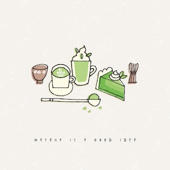 Illustration of matcha tea products. hand draw set of tea, coffee and sweets.