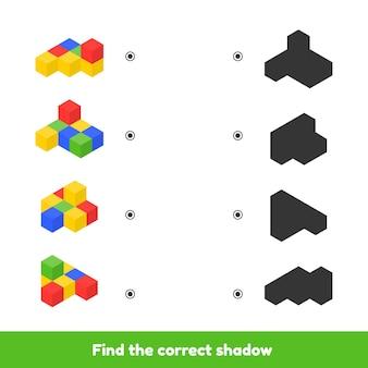 Иллюстрация. соответствующая игра для детей дошкольного и детсадовского возраста. найдите правильную тень. цветные кубики.
